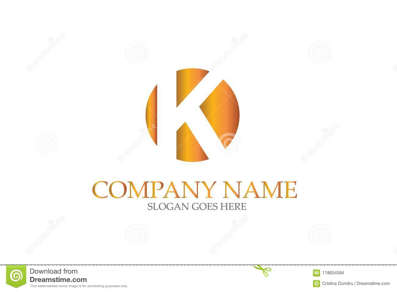 letter k gold in a golden circle icon design element template