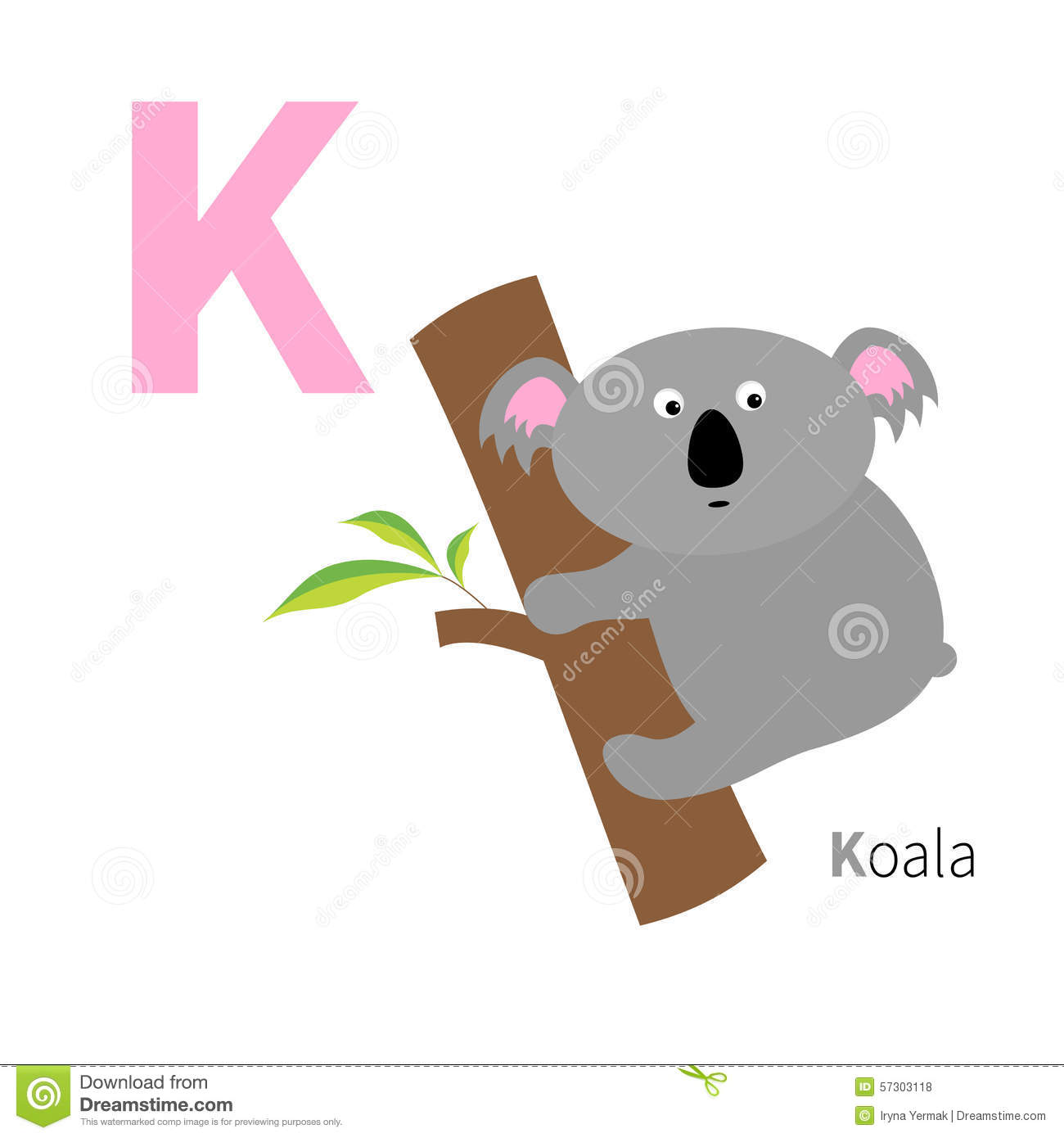 Stock Illustration Letter K Koala Zoo Alphabet English Abc Animals Education Cards Kids White Background Flat Design Vector Illustration Image57303118 on Preschool Letter D