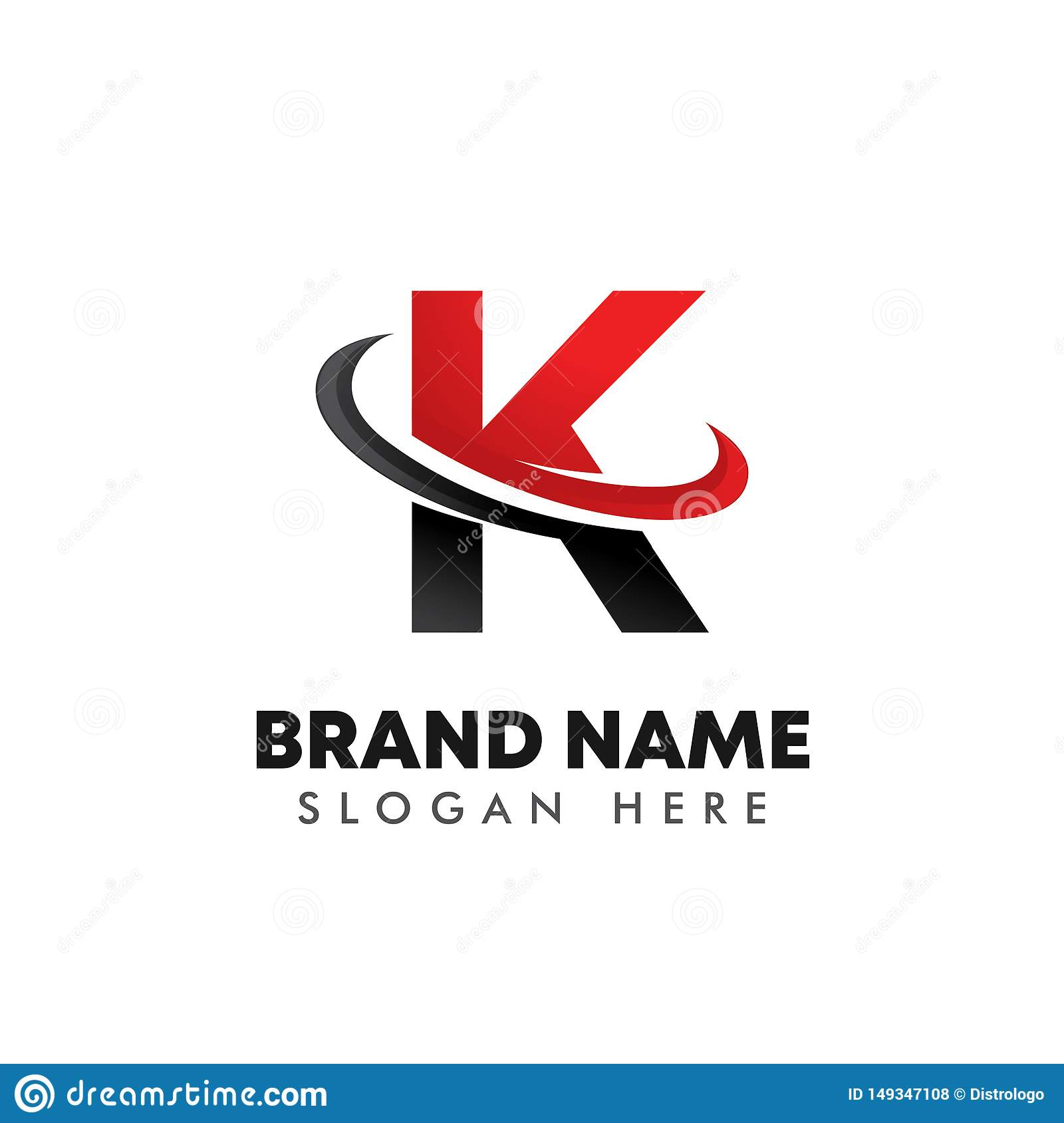 Letter K Logo Symbol With Swoosh Design Stock Vector
