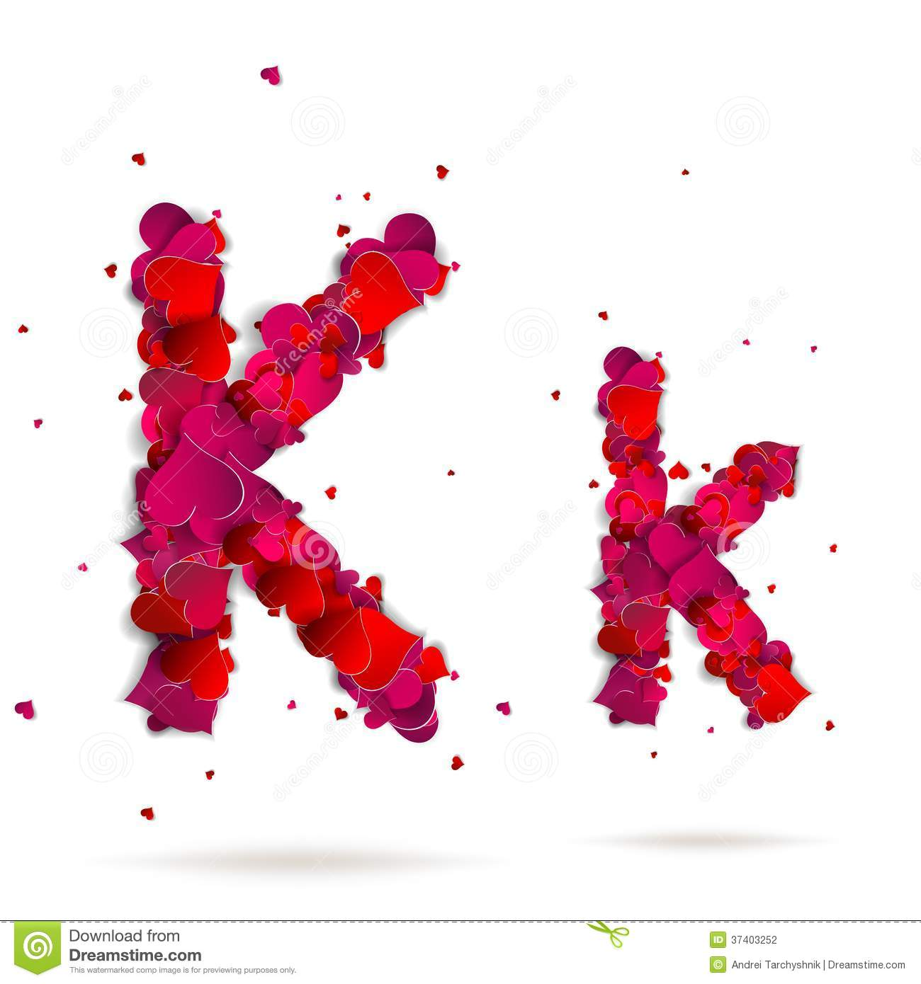 Letter K Made From Hearts Love Alphabet Stock Photography