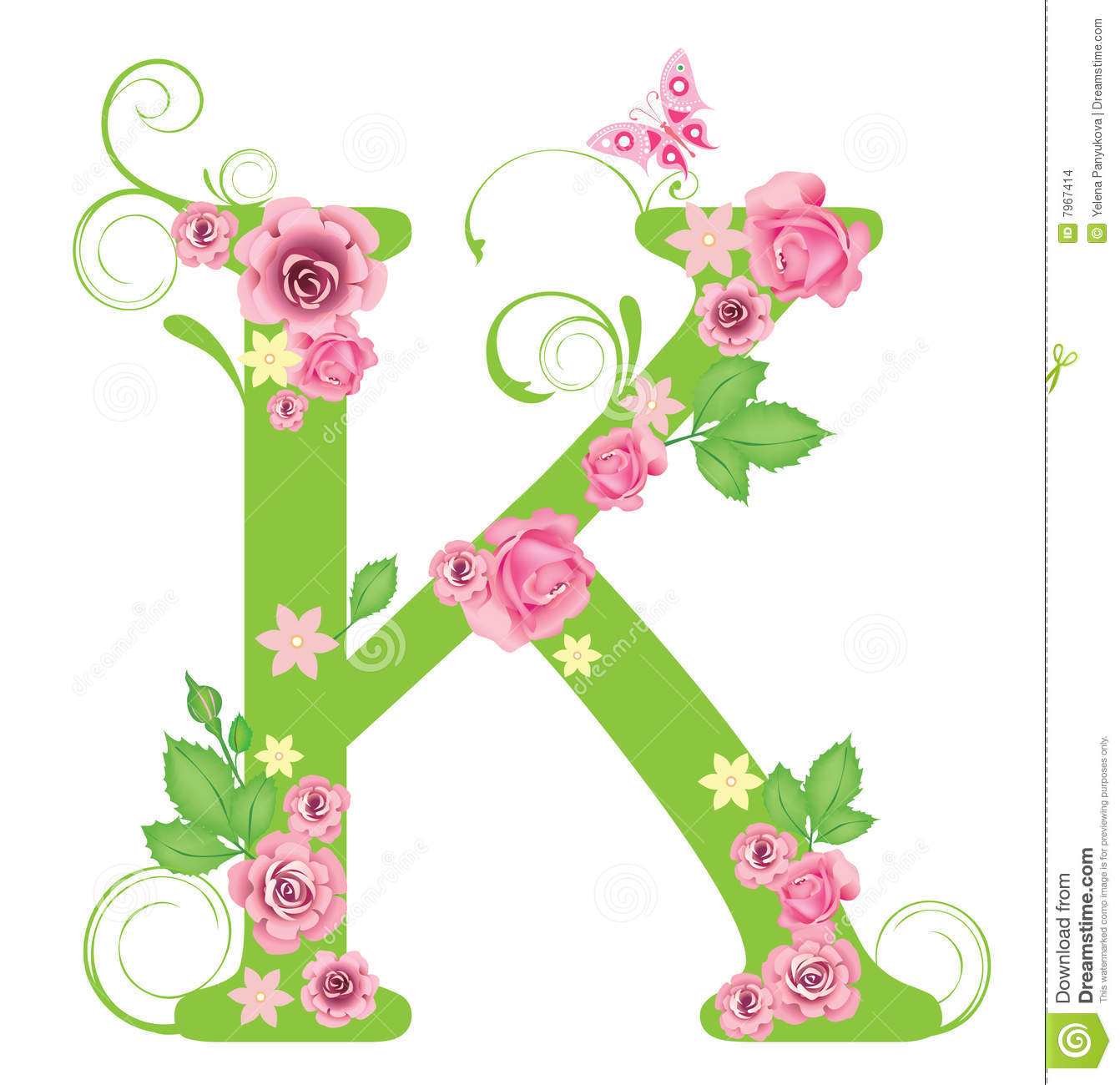 K Letter In Rose Letter K with roses