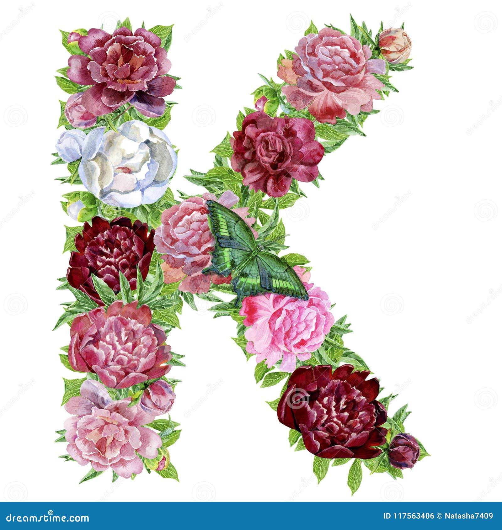 Letter K of watercolor flowers