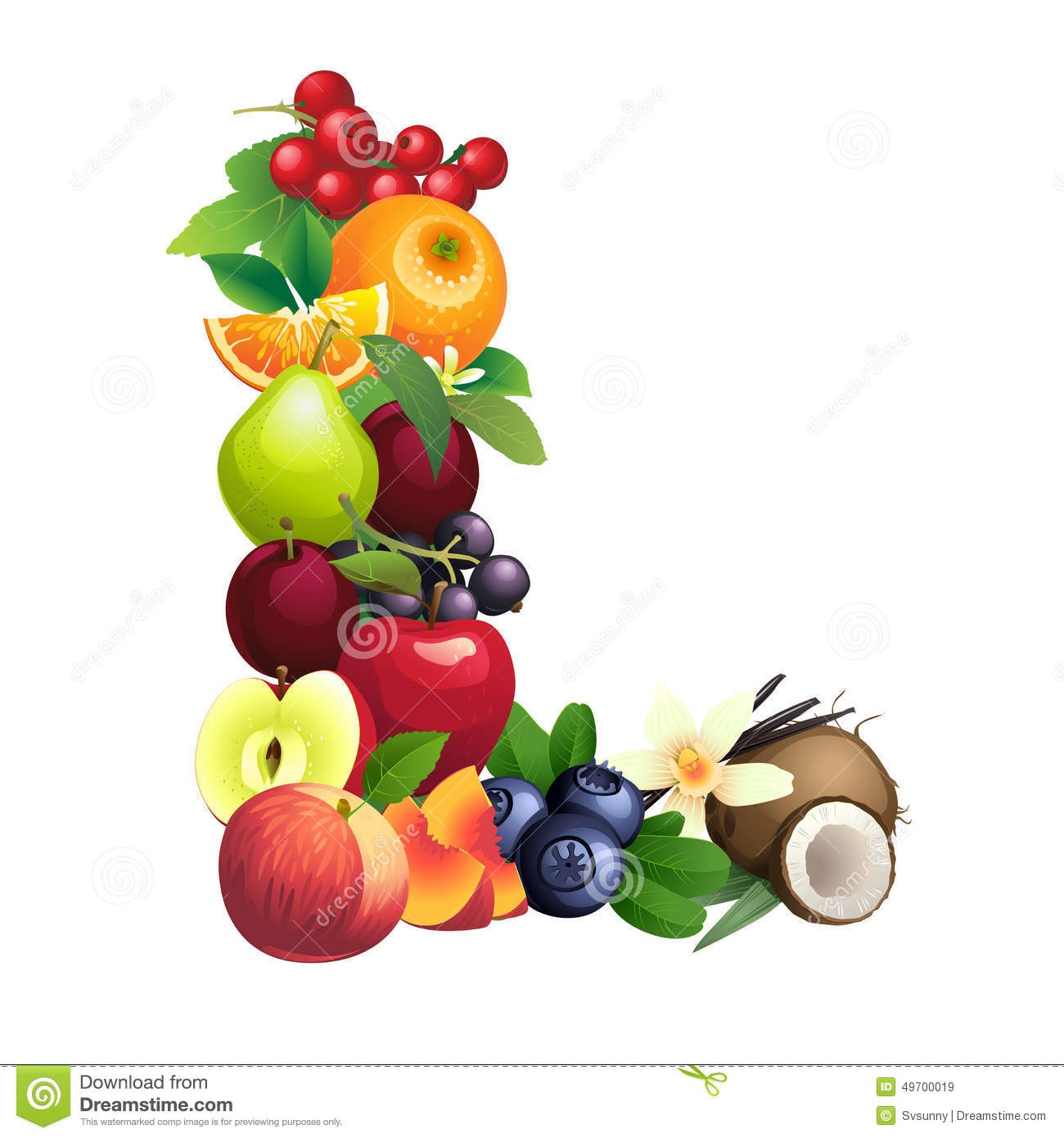 Letter L Composed Of Different Fruits With Leaves Stock