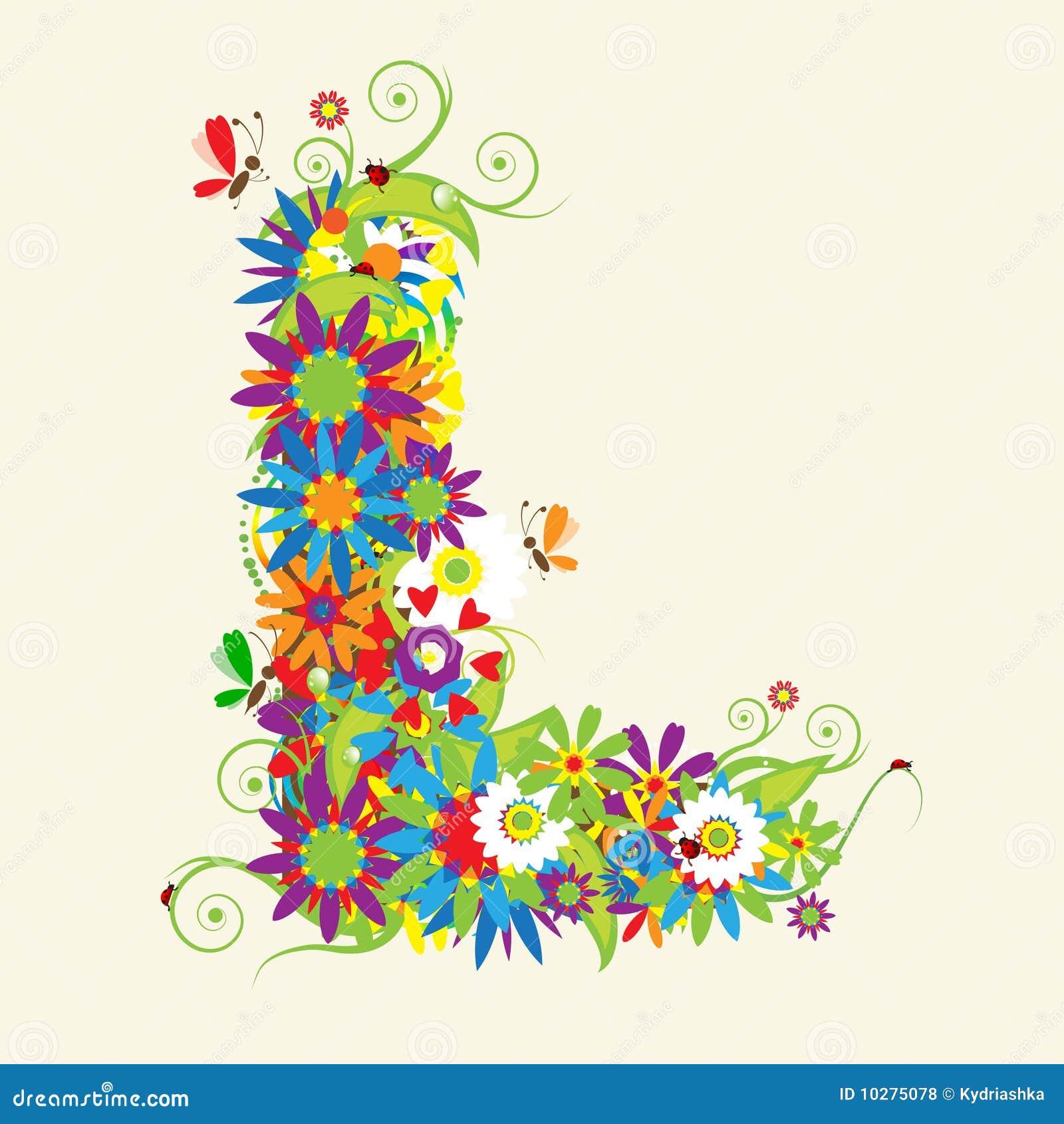 Floral Letter R Font:  Letter L, Floral Design Royalty Free Stock Photos