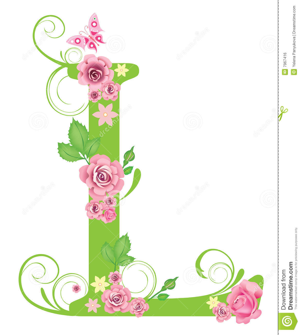 Letter L With Roses Stock Vector Illustration Of Symbol 7967416