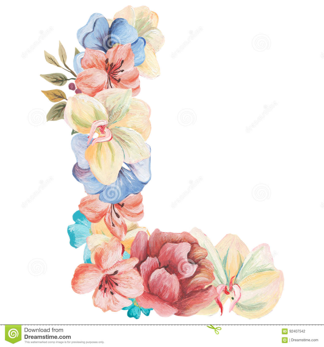 Letter L Watercolor Flowers Isolated Hand Drawn A White