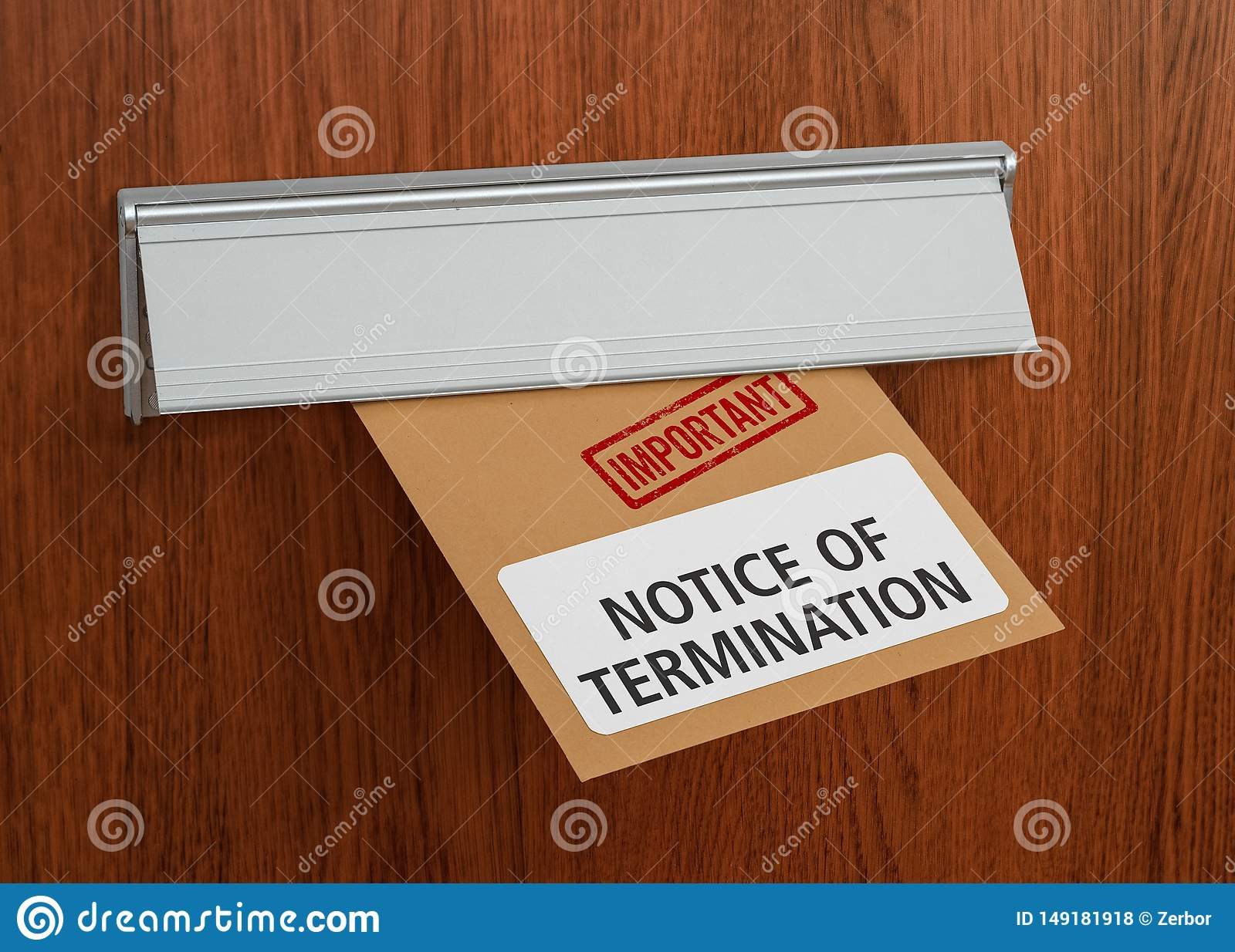 A letter with the label Notice of termination