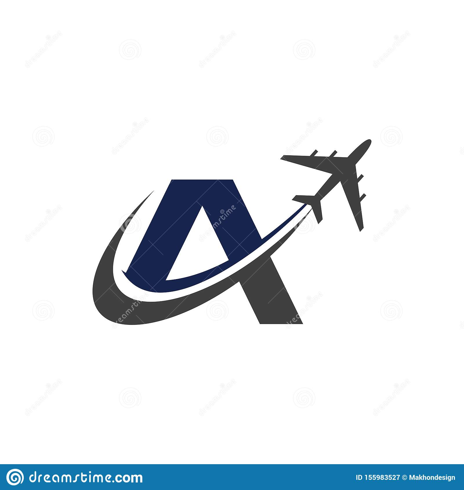 A Letter Logo With Airplane Air Airplane Minimalist Logo Design Stock Vector Illustration Of Object Shape 155983527