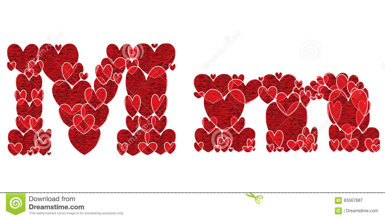 Letter M Of Alphabet Made From Hearts Stock Illustration