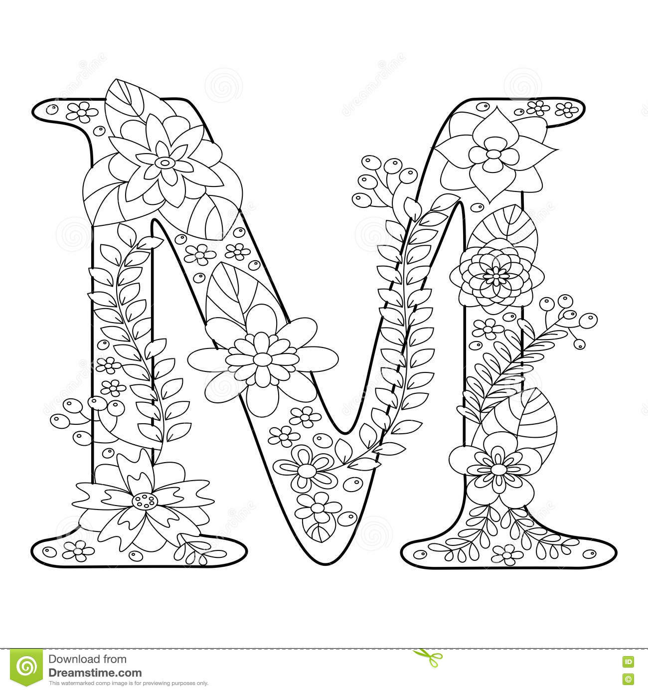 Letter M Coloring Book For Adults Vector Stock Vector