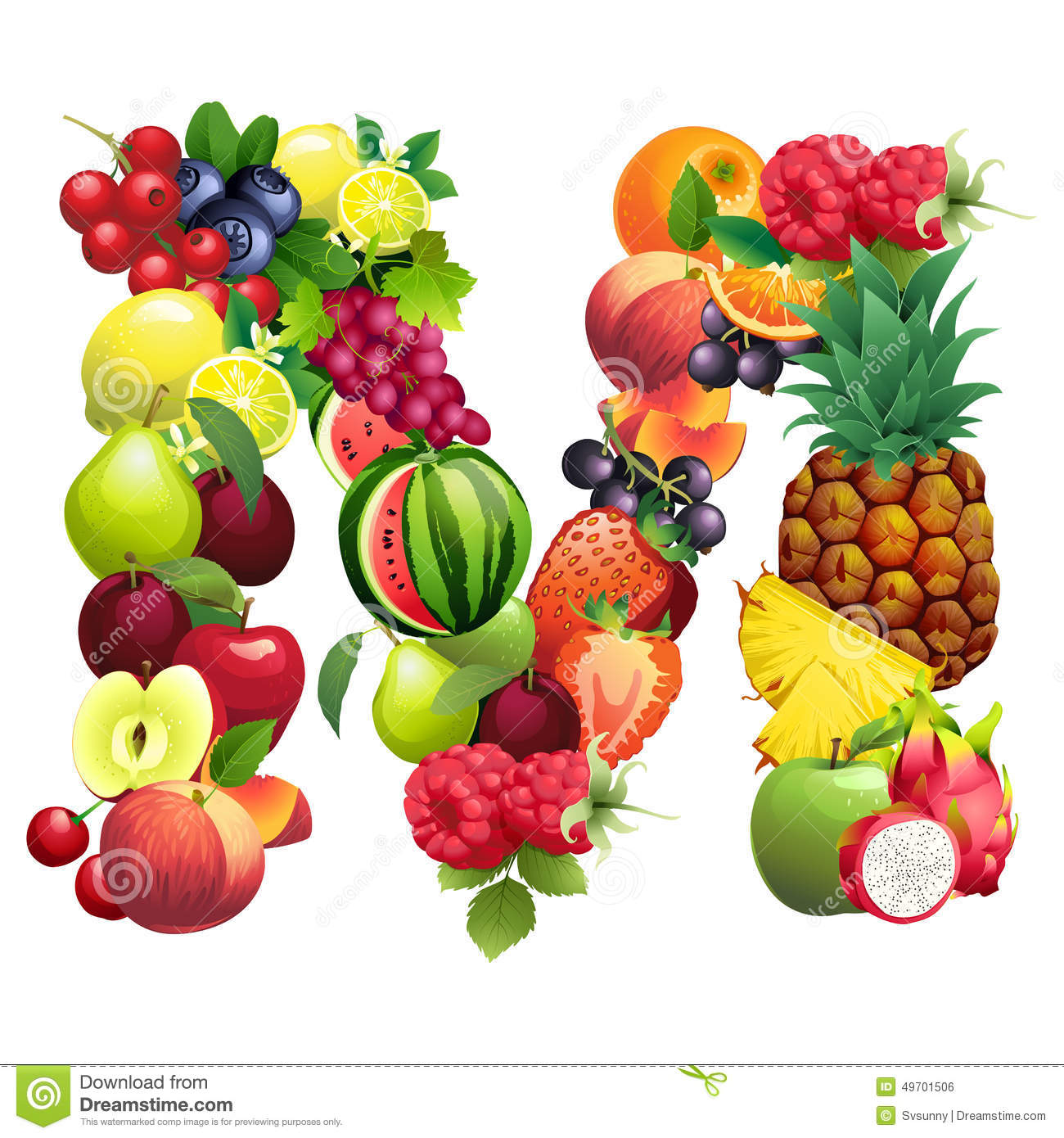 Letter M Composed Of Different Fruits With Leaves Stock