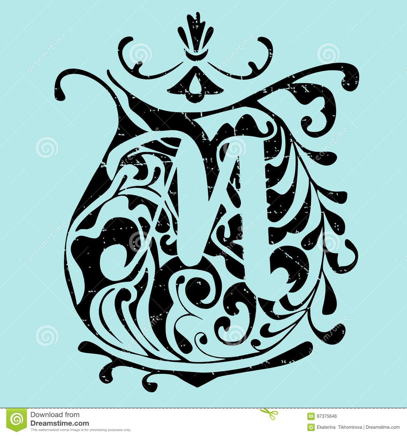 alphabet: the letter m in the vector. stock vector - illustration of