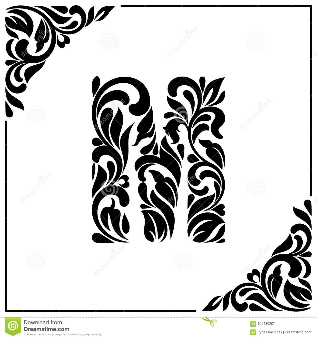 The Letter M Decorative Font With Swirls And Floral Elements
