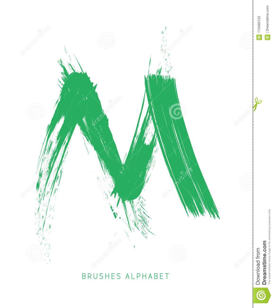 The letter M of the english alphabet created with brush