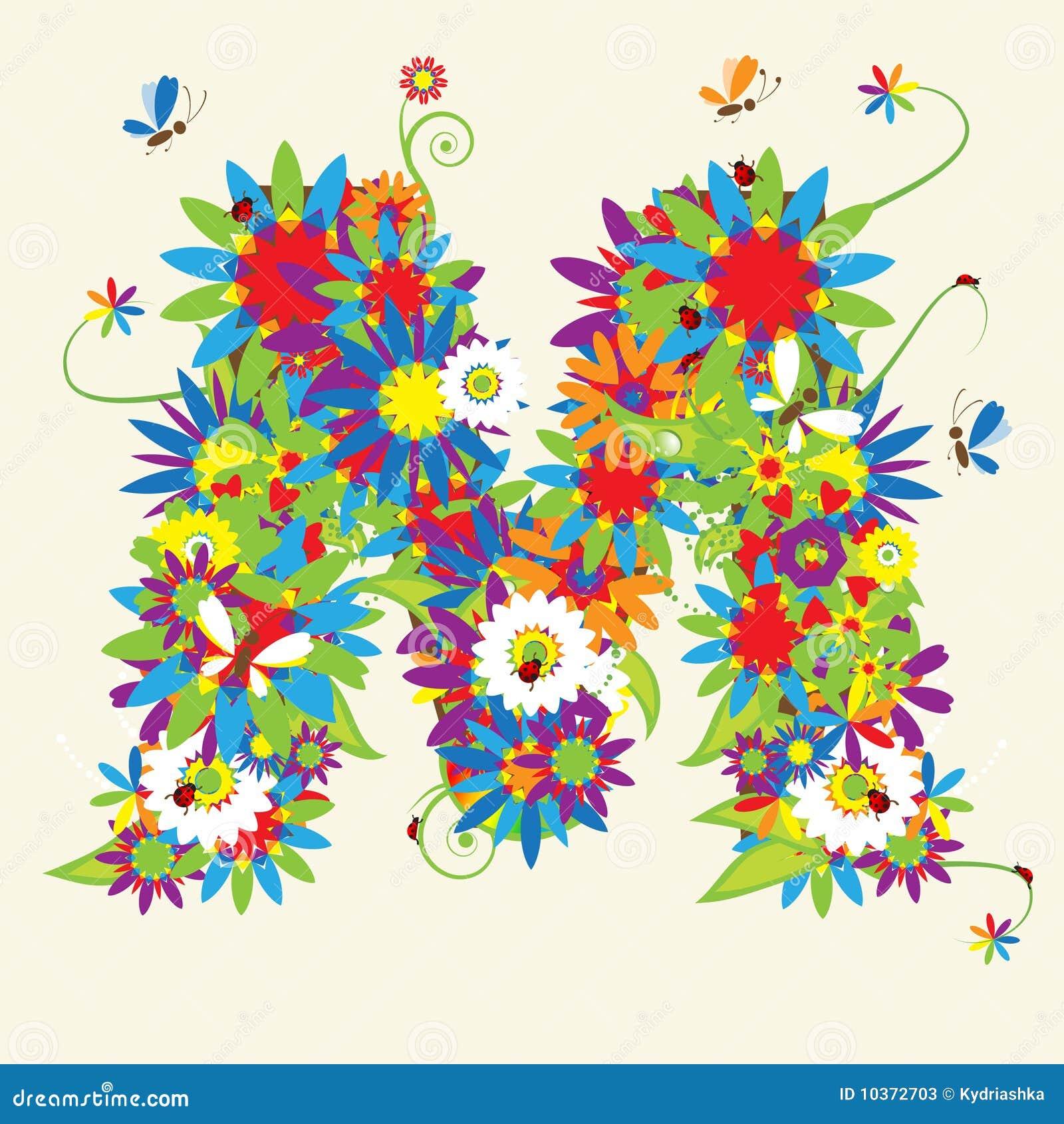 Letter M  floral...M Alphabet Animation