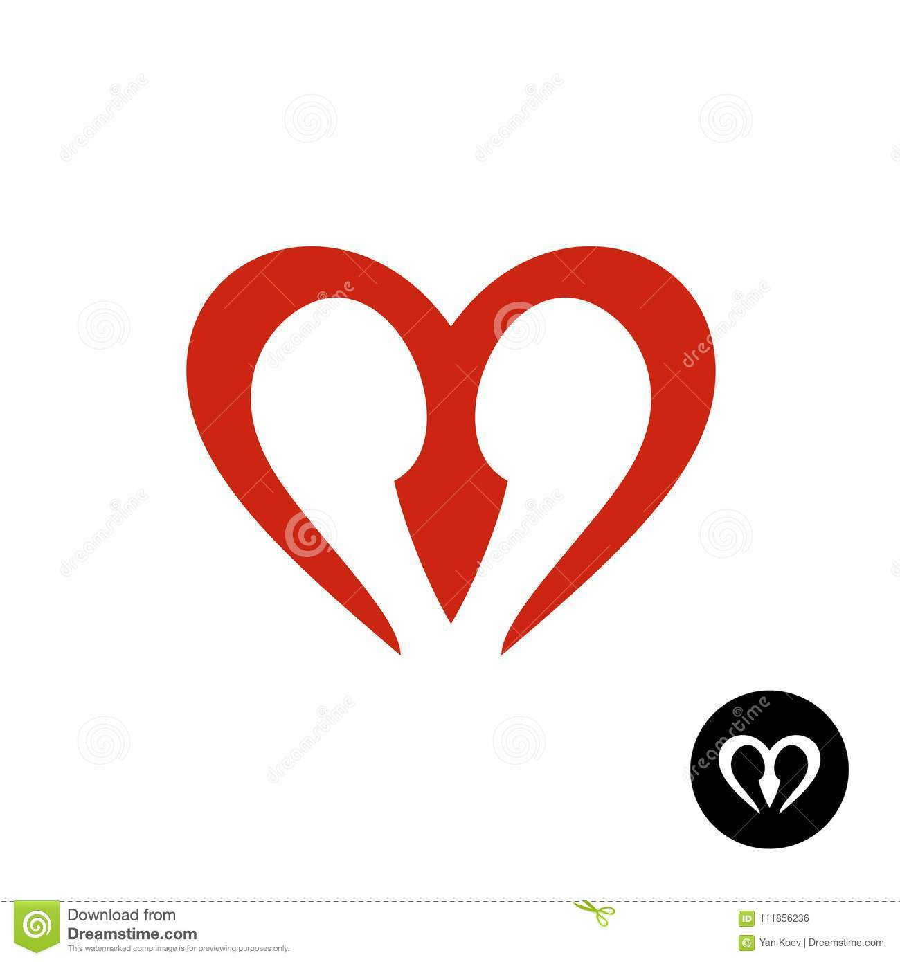 Letter M Heart Style Logo Stock Vector Illustration Of Font