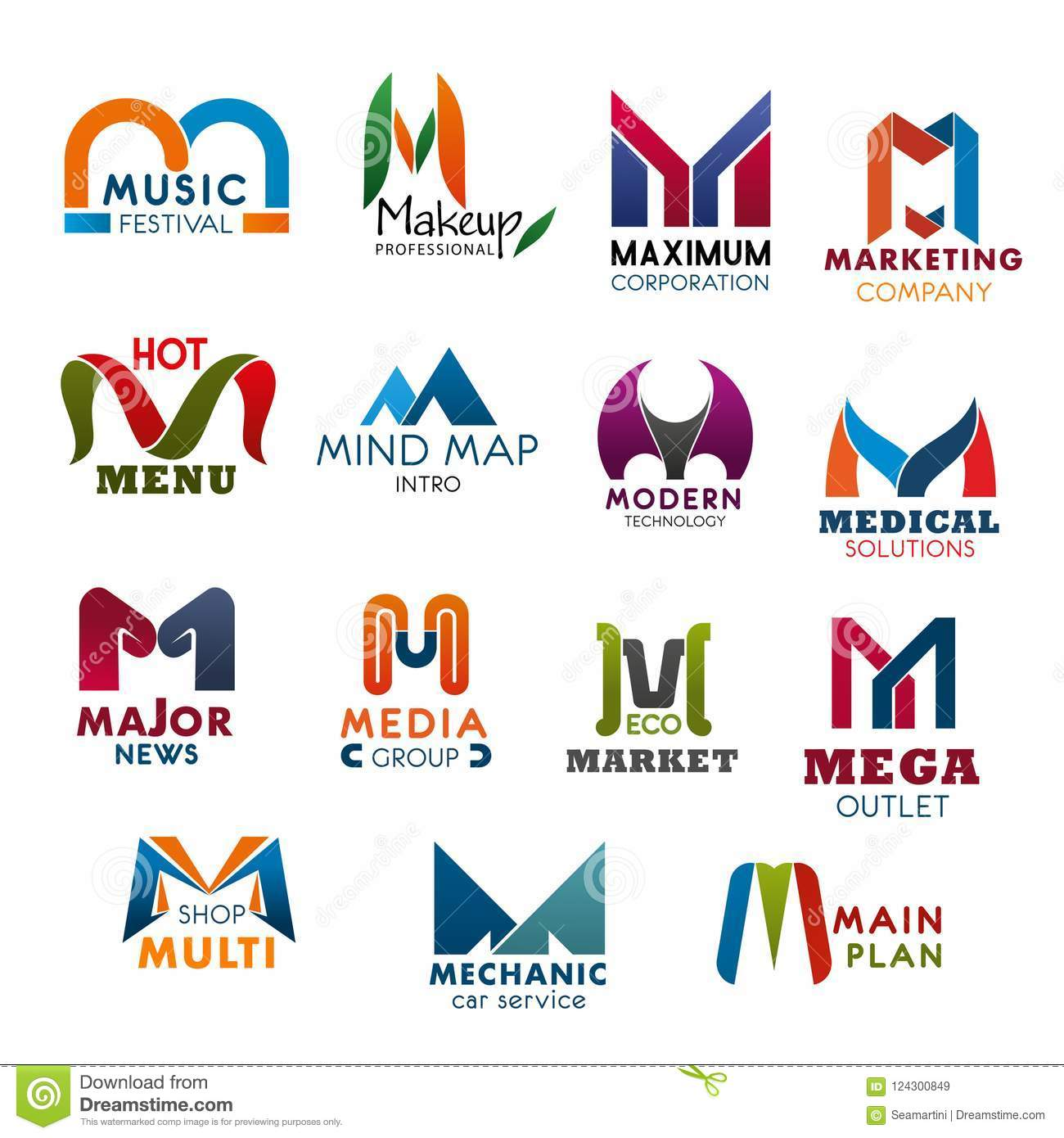 Letter M Icons And Symbols For Business Stock Vector Illustration