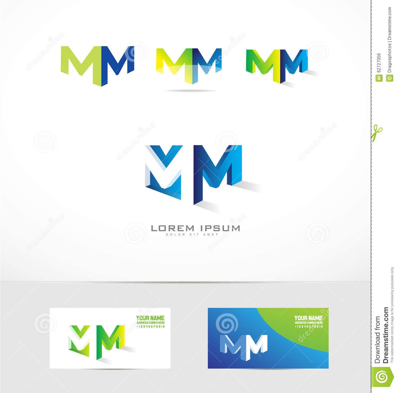 D Letter M Template on printable box, cut out,