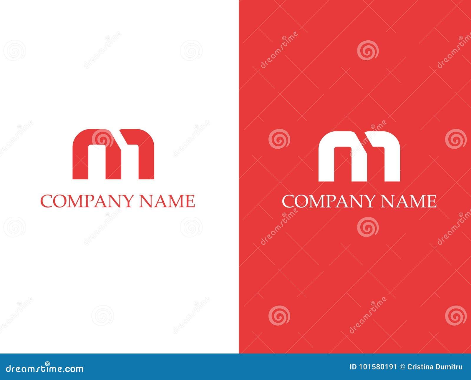 Letter M Logo Design Template In Red Color Stock Illustration