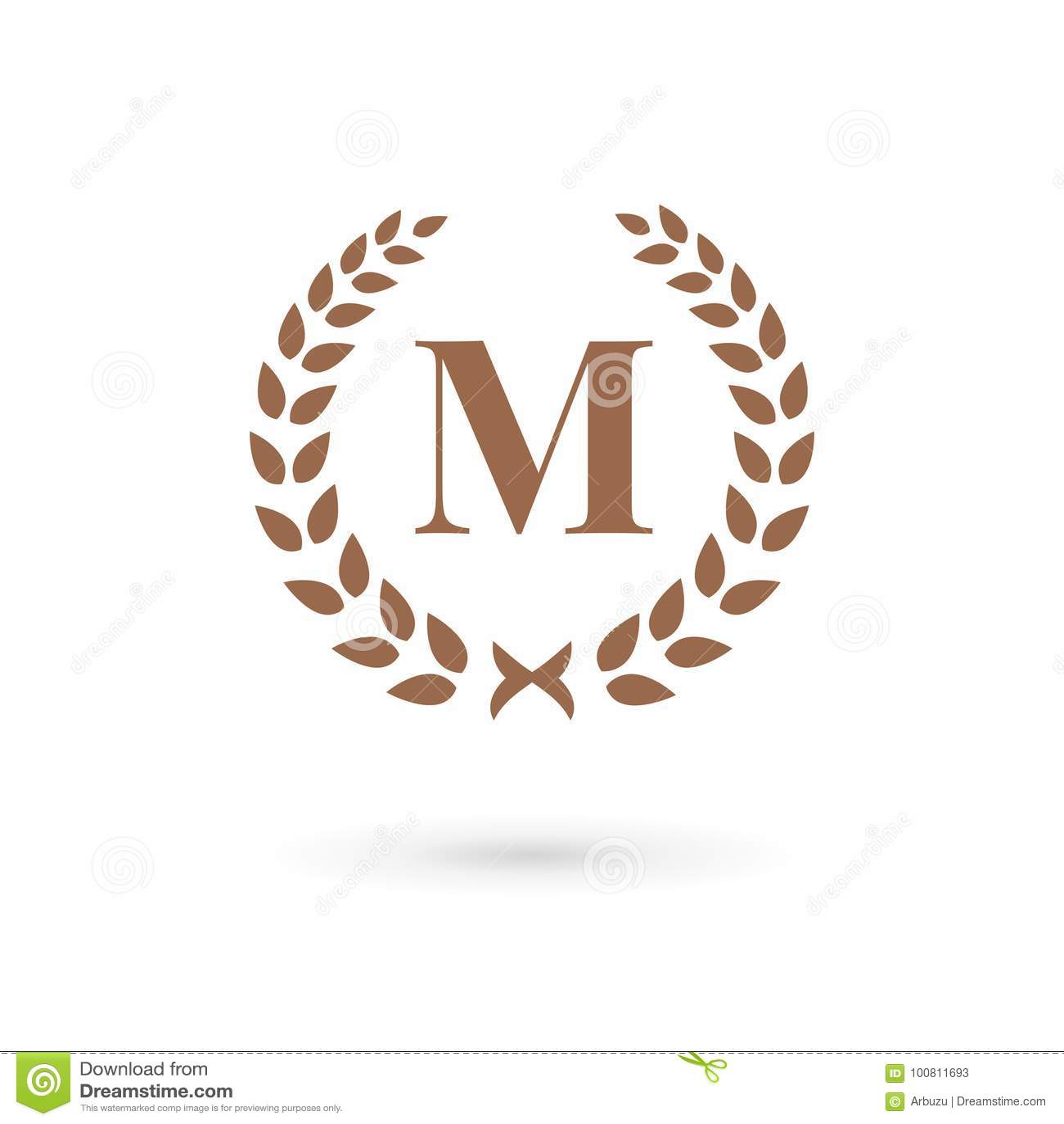 38ad7c8f Letter M Laurel Wreath Logo Icon Design Template Elements Stock ...