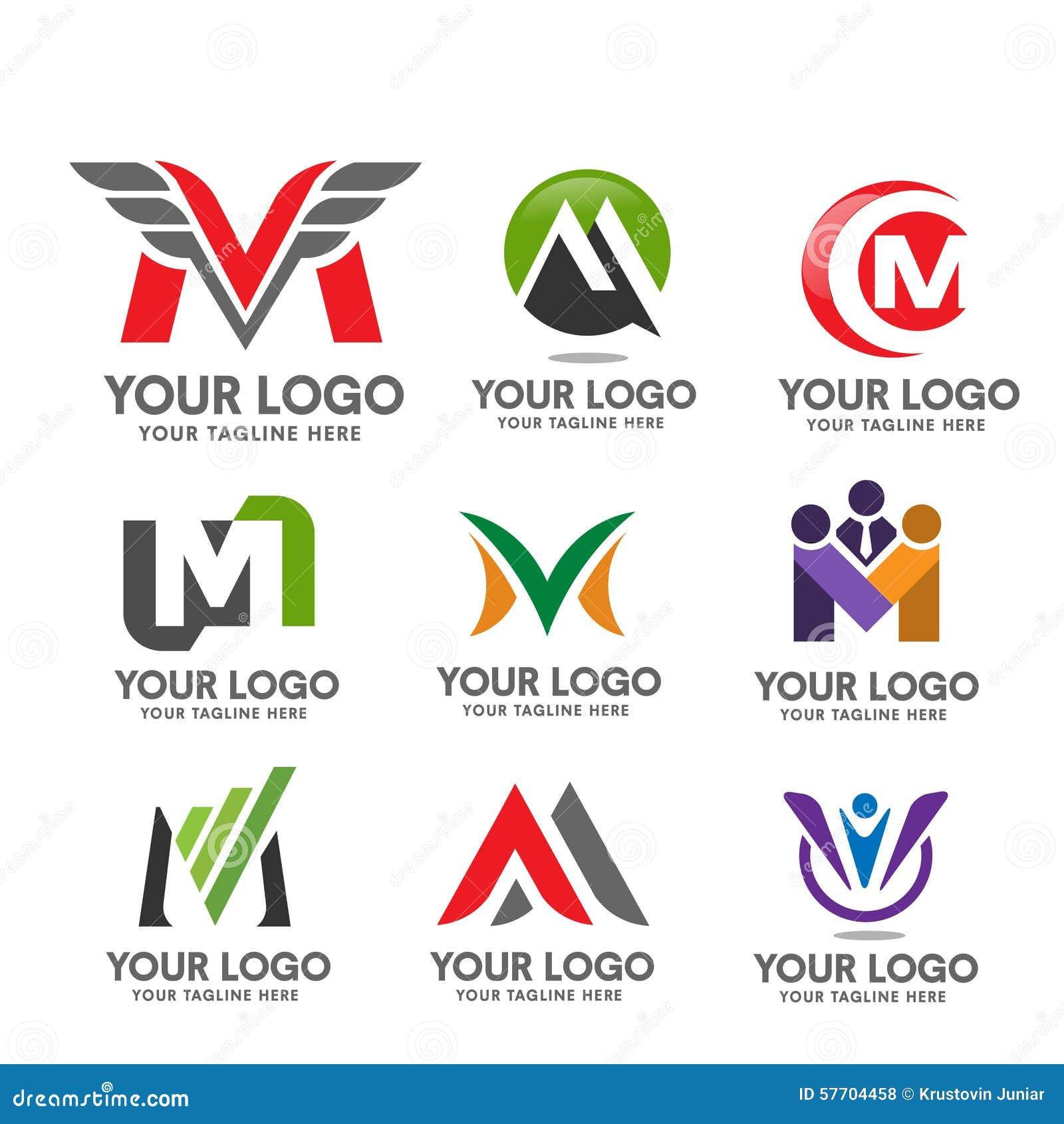 Letter M Logo Set Stock Vector - Image: 57704458