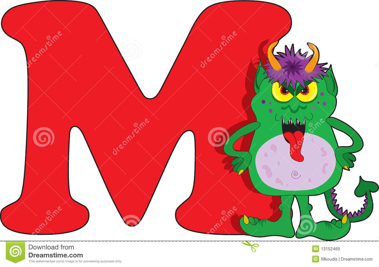 Letter M With A Monster Royalty Free Stock Images - Image: 13152469
