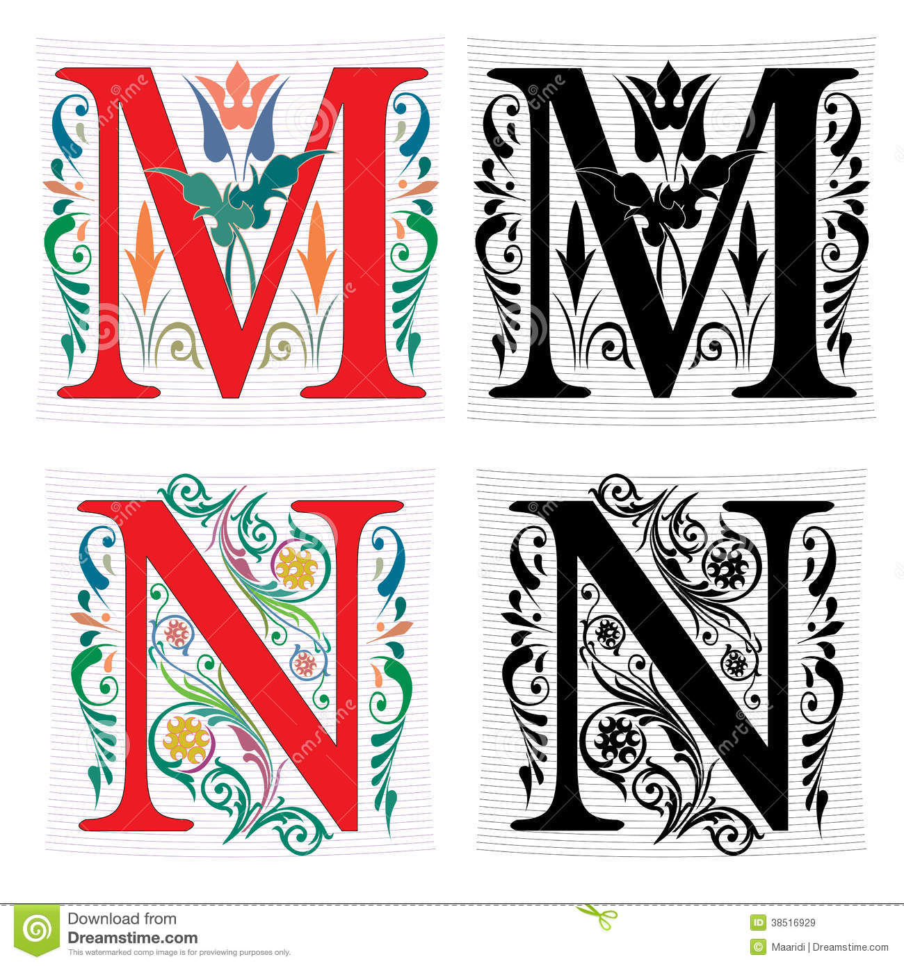 letter m and n, color and monochrome stock vector - illustration of