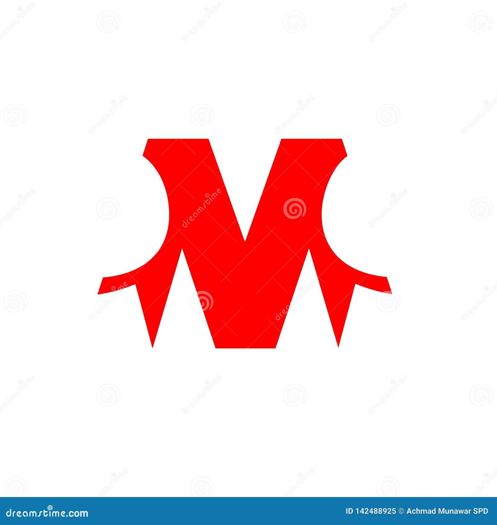 Letter M Red Color For Company Design Logo Branding Letter Element