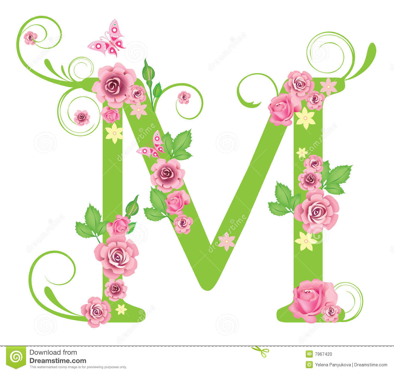 Letter M With Roses Stock Vector Illustration Of Rose 7967420