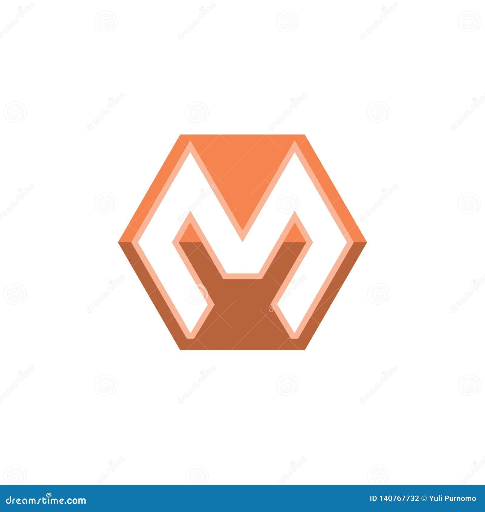 Letter N Square Shape Logo Vector Icon:  Letter M Shape Hexagon Vector Logo White Background Stock