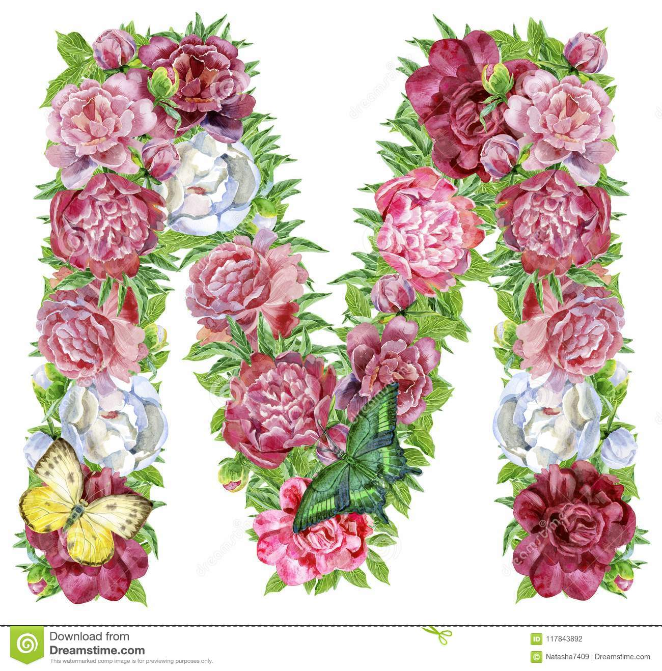Letter M of watercolor flowers