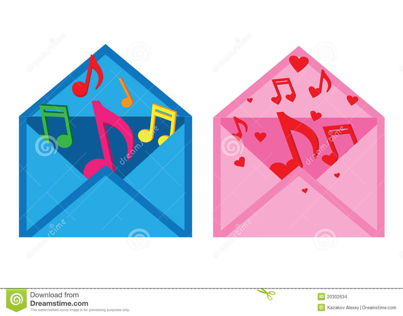 Letter with musical notes stock vector  Illustration of sound - 20302634