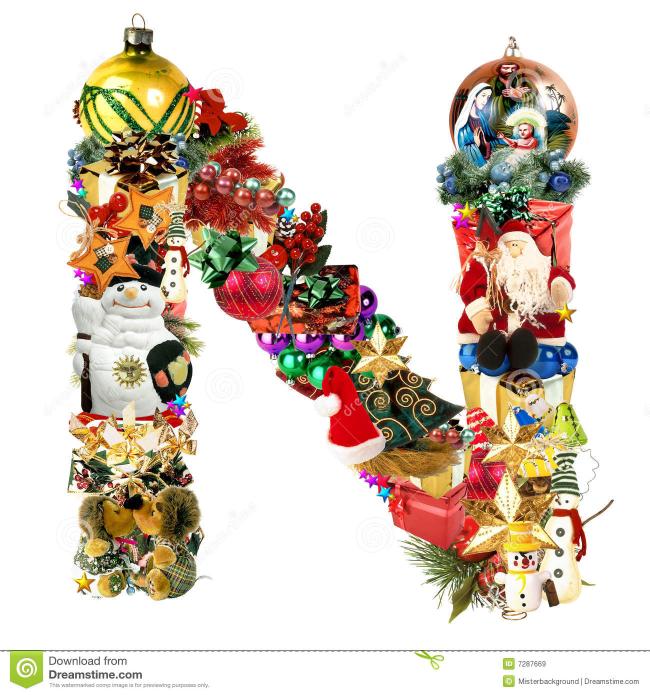 Sample Christmas Tree Decorating Ideas: Letter N, For Christmas Decoration Royalty Free Stock