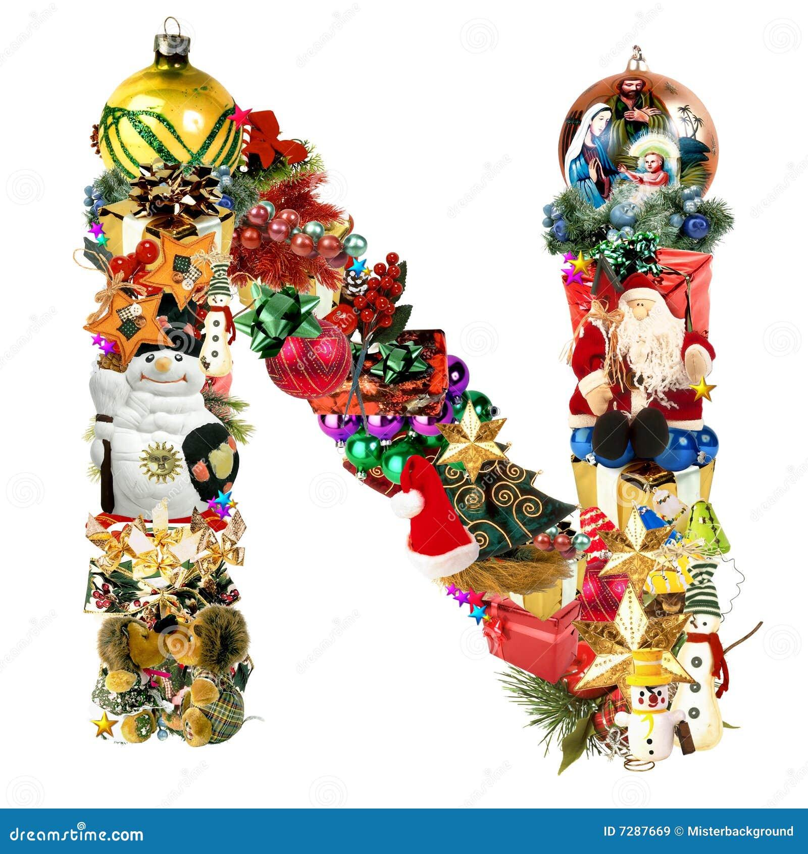 Letter n for christmas decoration stock illustration for Letter k decoration