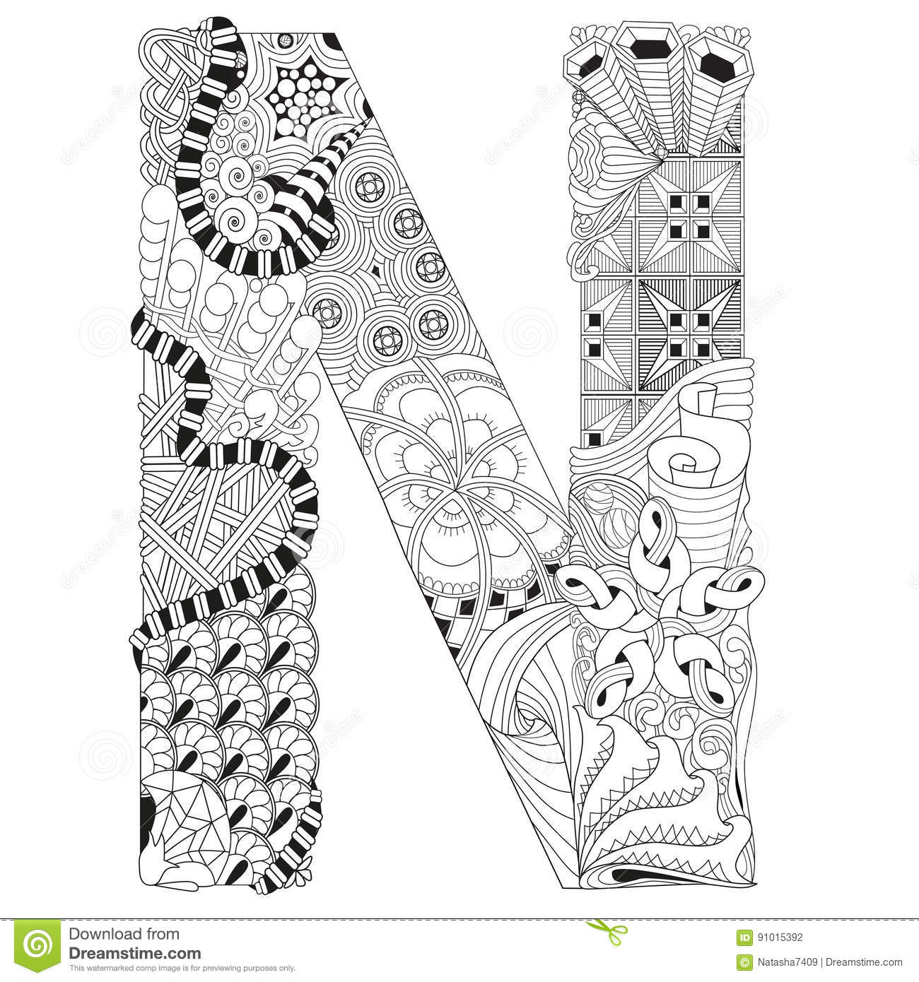 letter n for coloring vector decorative zentangle object stock