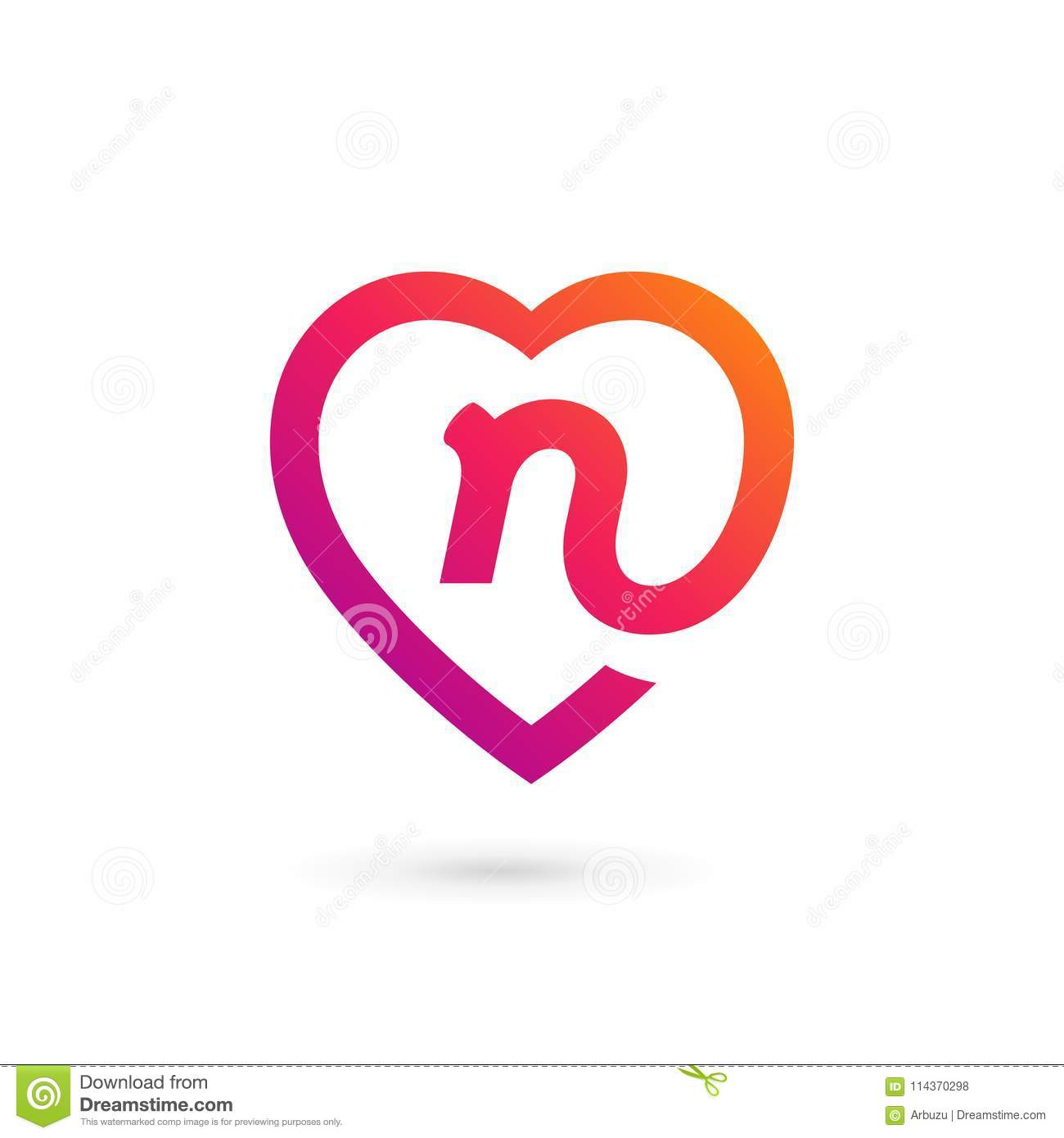 letter n heart logo icon design template elements stock vector