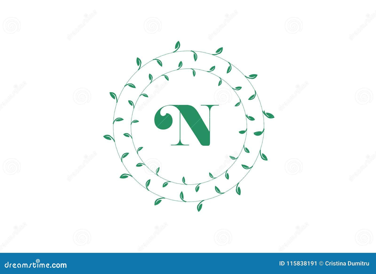 letter n logo with round green leaves elegant floral monogram template design