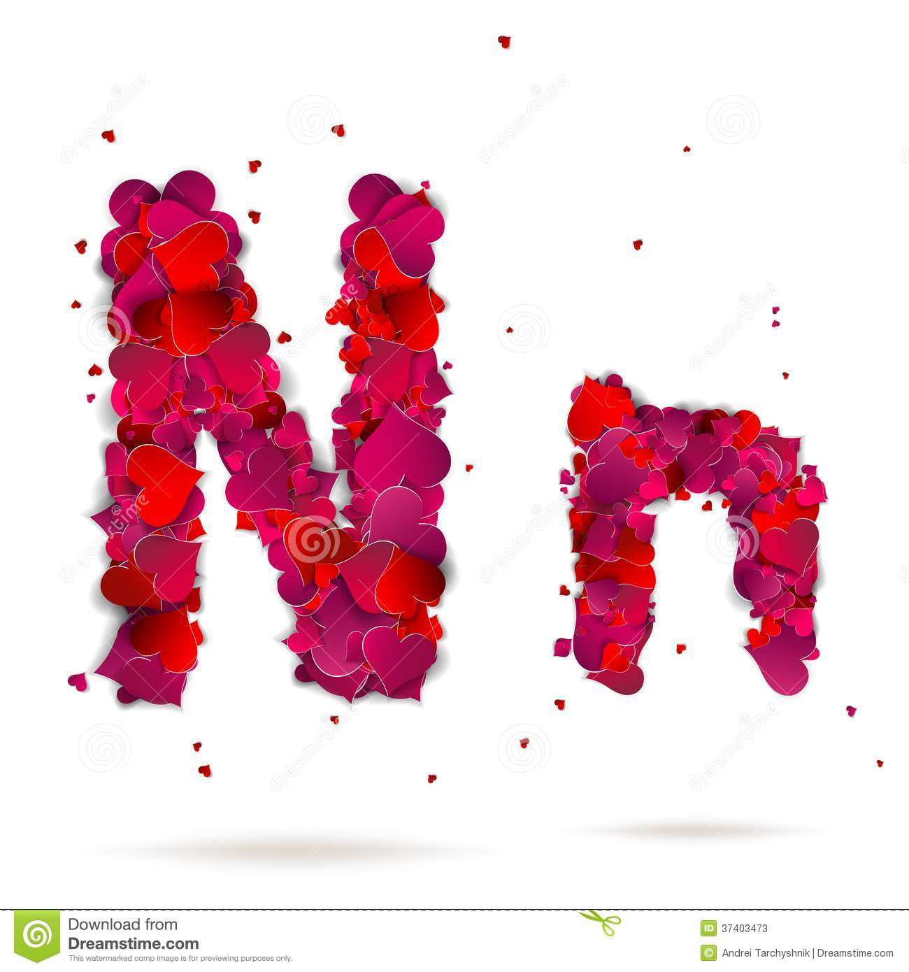 Letter N Made From Hearts Love Alphabet Stock Photos