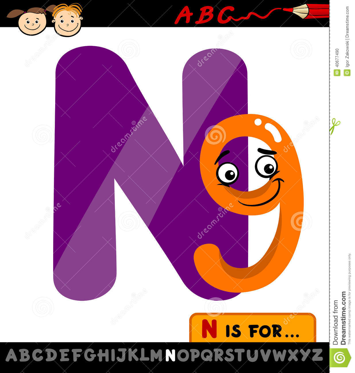 Cartoon Characters 9 Letters : Letter n with nine cartoon illustration stock vector