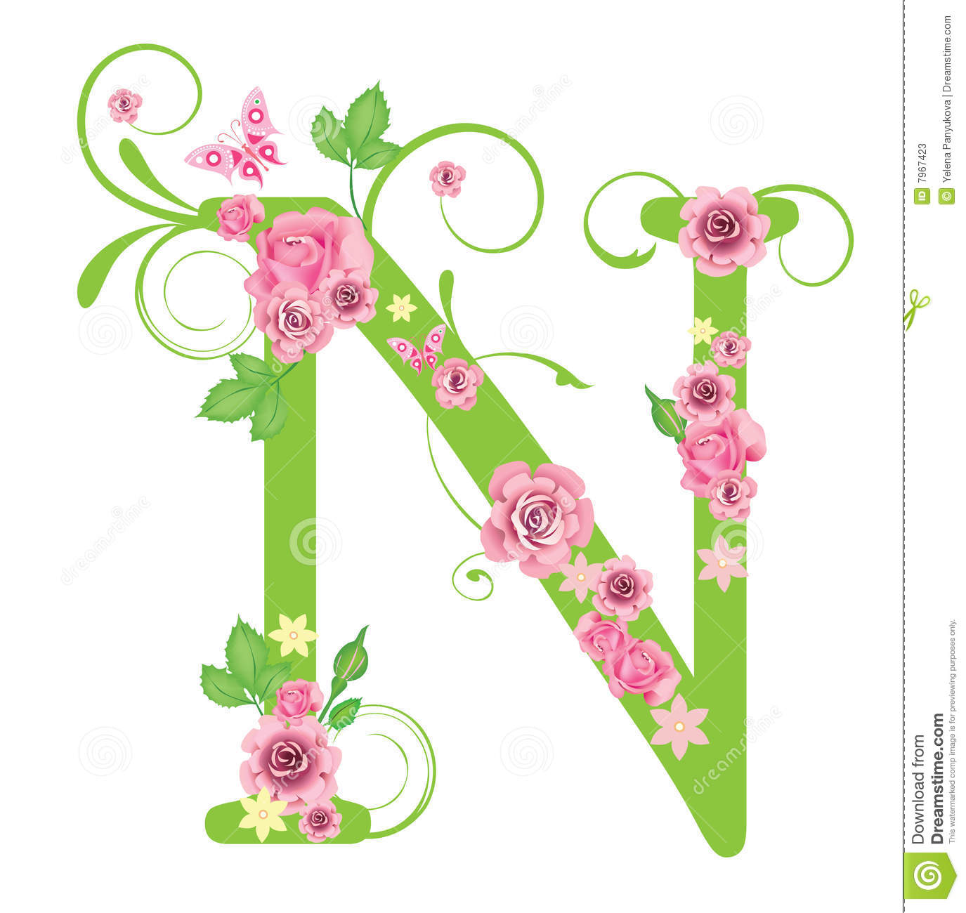 Letter N with roses stock vector. Illustration of retro - 7967423