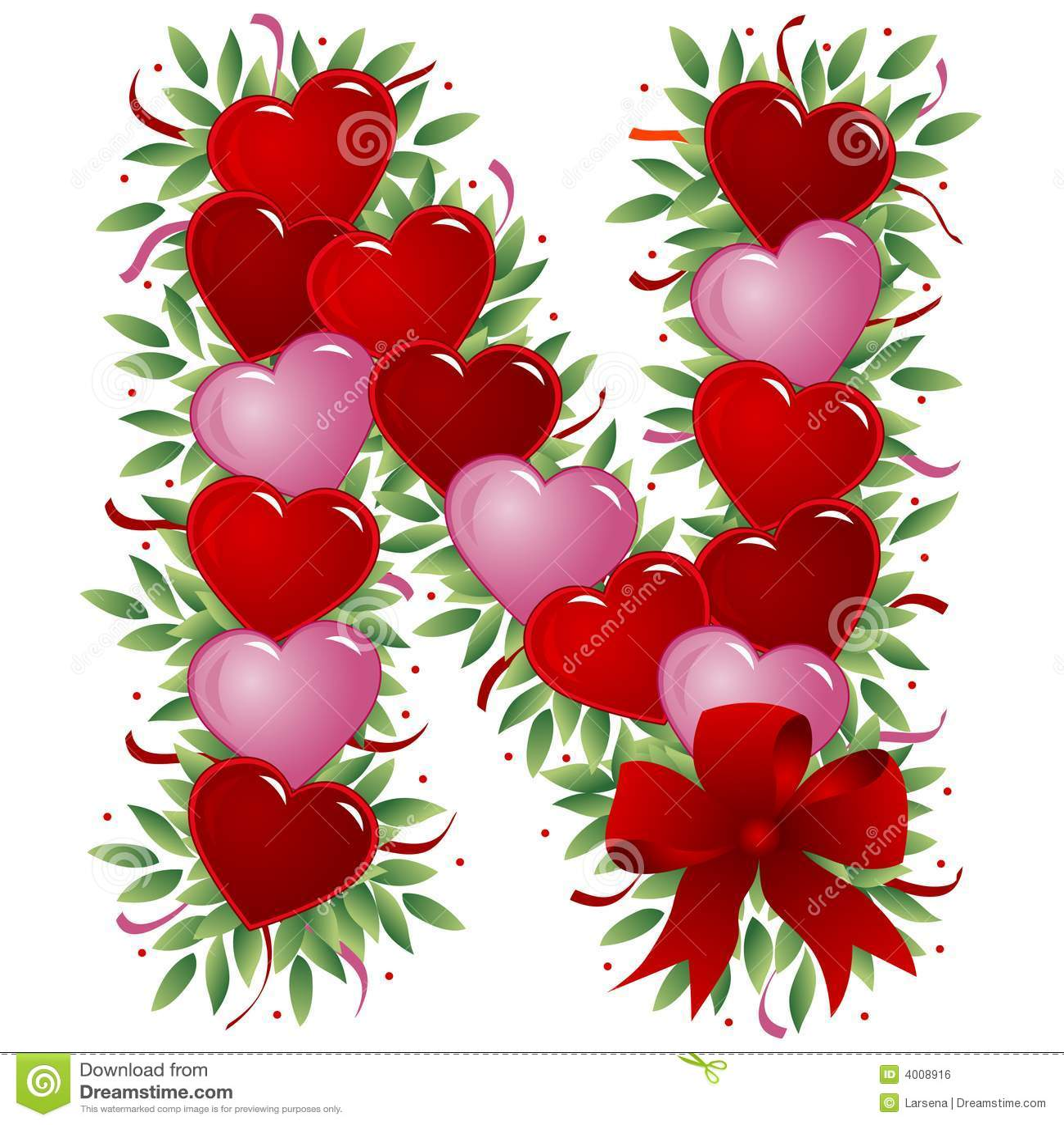 M Alphabet In Heart Letter N - Valentine L...