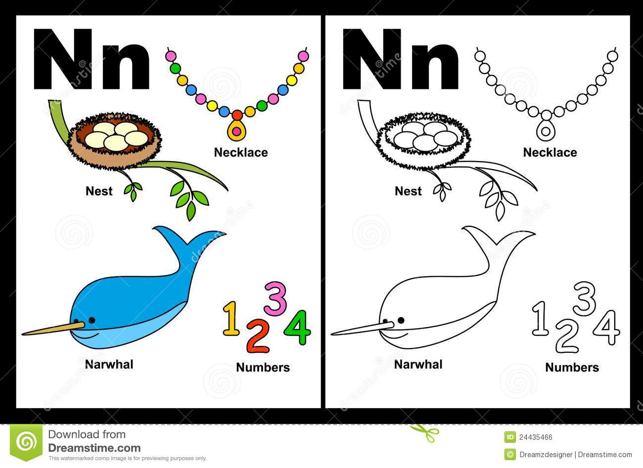 Letter N Worksheet Stock Vector Illustration Of Kids 24435466