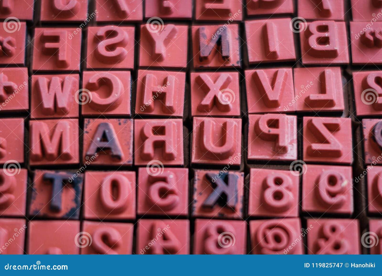 Letter and number stamps macro - alphabet letterpress ,