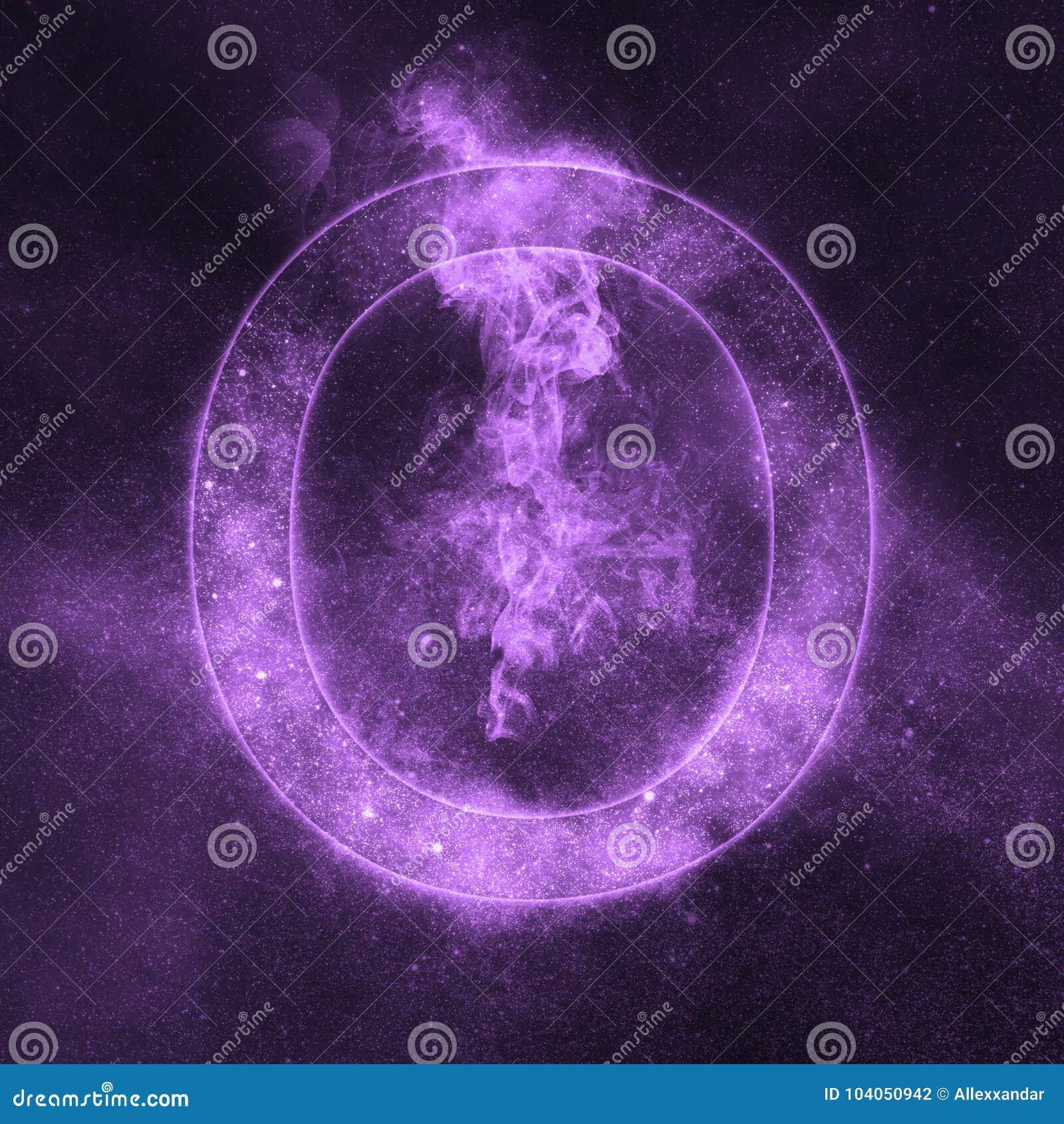 Letter O alphabet symbol. Space Letter, Night Sky Letter.