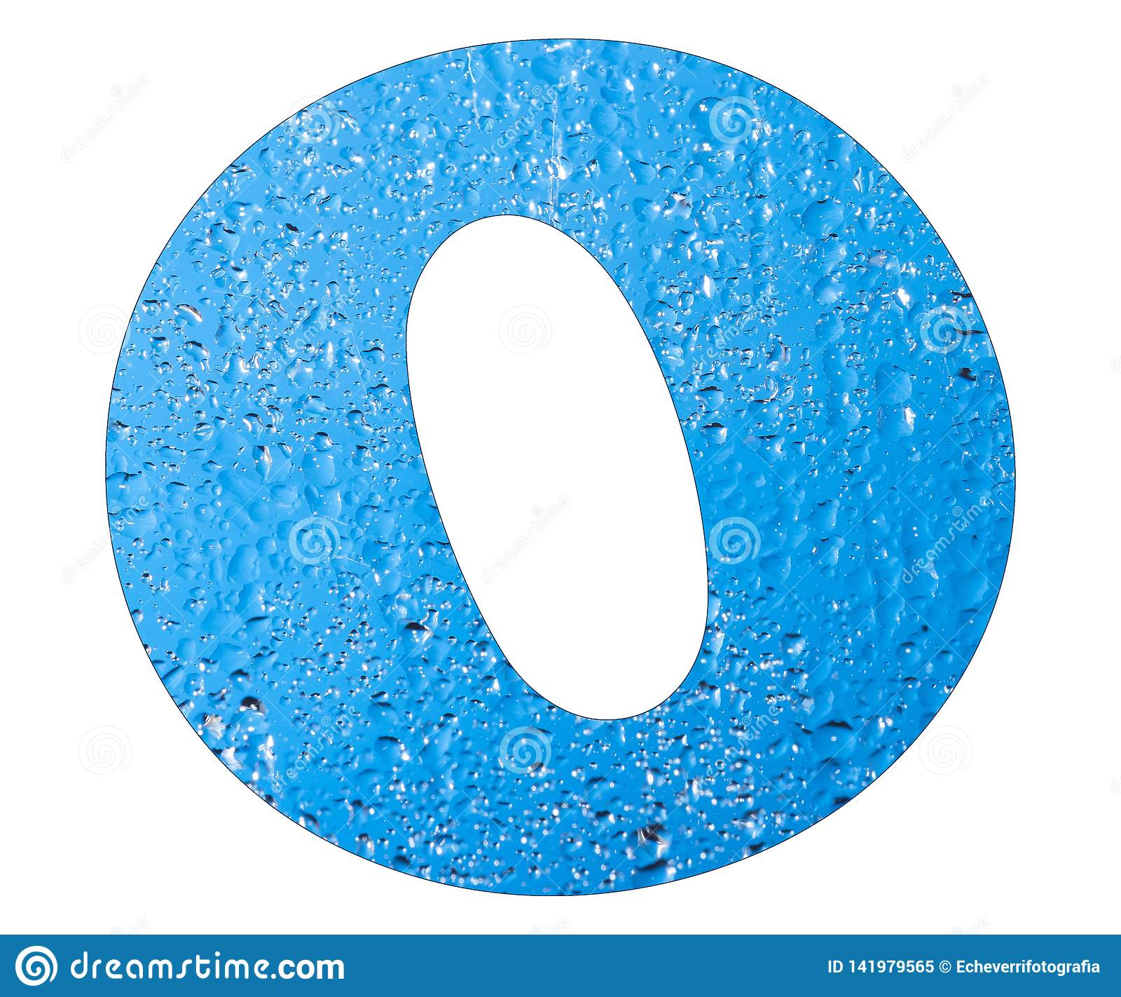 Letter O, Blue Water Drops - White Background Stock Image ...