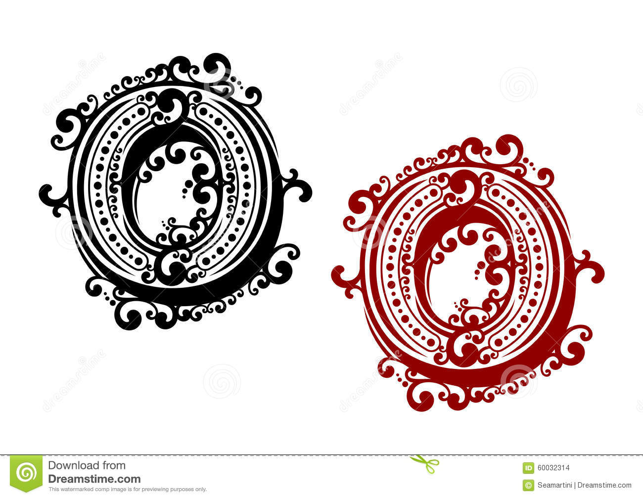 Letter O With Retro Ornament Elements Stock Vector Image