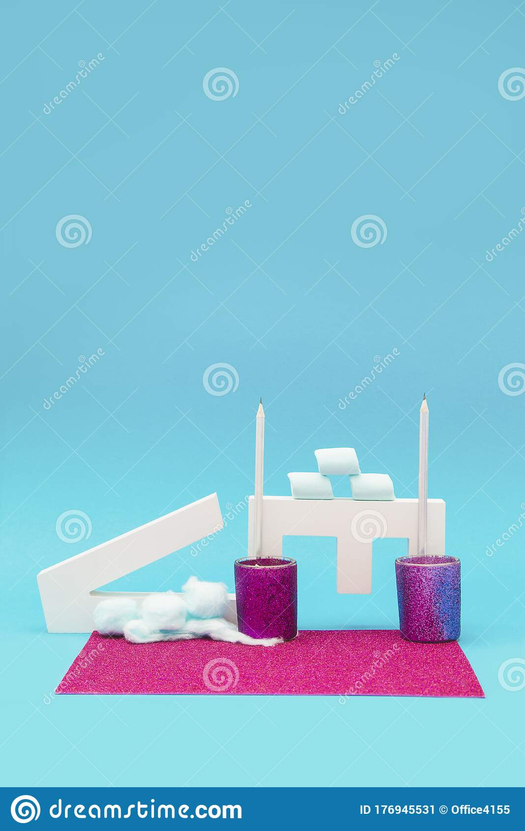 Letter Objects With Marshmallows And Candle Holders On A Blue And Purple Background Stock Image Image Of Graphic Creative 176945531