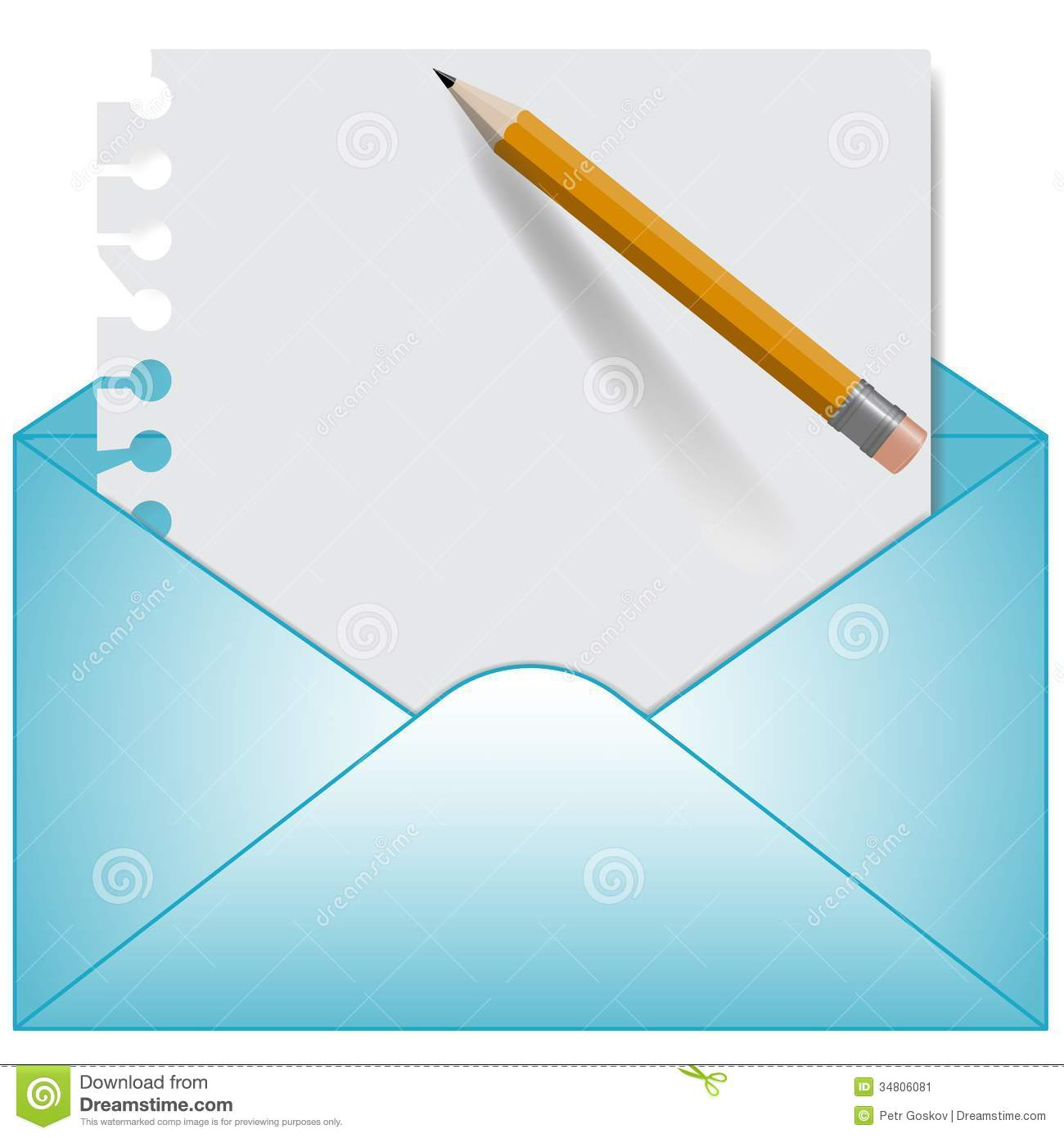 Letter And Open Envelope. Vector Stock Image - Image: 34806081