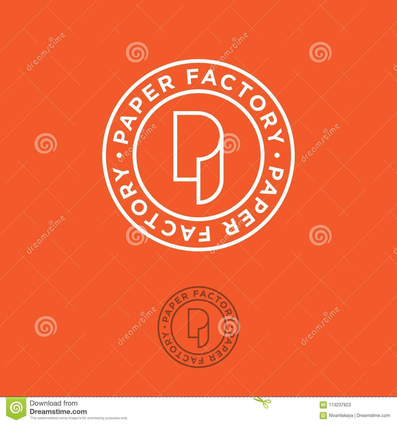 P Monogram P Logo Paper Factory Emblem On Orange Background Stock