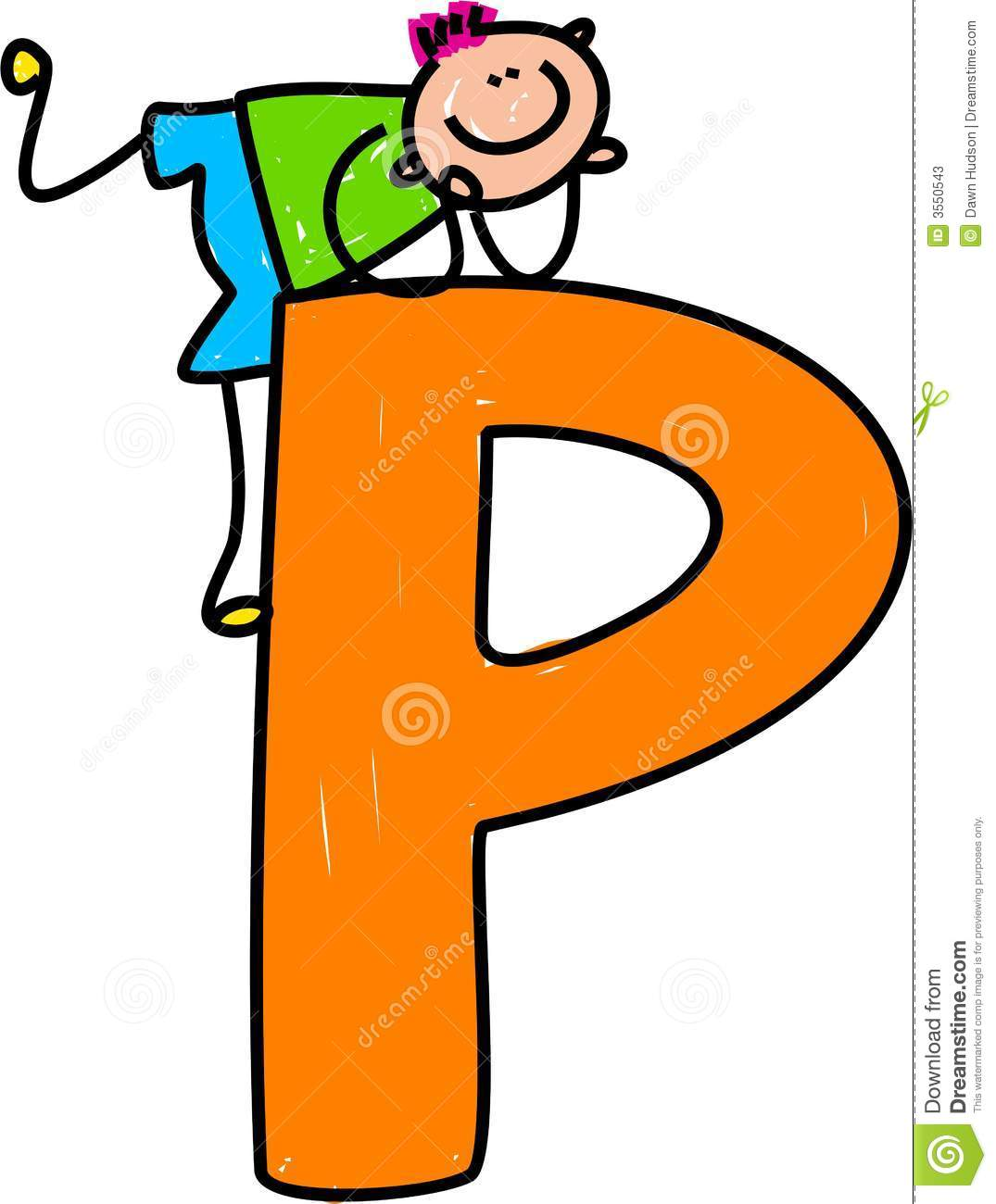 Happy little boy climbing over a giant letter P isolated o white ...